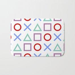 Gamer Pattern Color on White Bath Mat