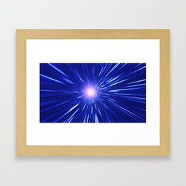 Glowing purple shpere with rays of light Framed Art Print