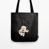 space cat Tote Bags featuring Space Cat by Koning