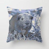 guinea pig Throw Pillows featuring blue guinea pig by MehrFarbeimLeben