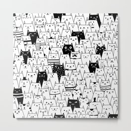 Seamless vector pattern with cute cats Metal Print