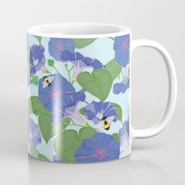 Glory Bee - Vintage Floral Morning Glories and Bumble Bees Coffee Mug