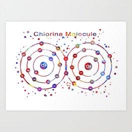 Chlorine Molecule Art Print