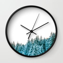 Snowy Winter Forest, Green Wall Clock