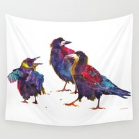 takmaj Wall Tapestries featuring Ugly birds by takmaj