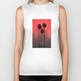 Red Fade Palm Trees Biker Tank