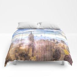 New York Manhattan Skyline Art Comforters