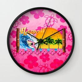 Pink Hibiscus Hawaiian Surfing Wall Clock