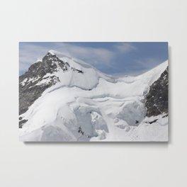 Mountain climbers on their way to Swiss mountain top Metal Print