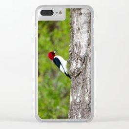 Red Head Bird Clear iPhone Case