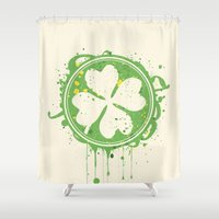 clover Shower Curtains featuring Patrick's clover by Sitchko Igor
