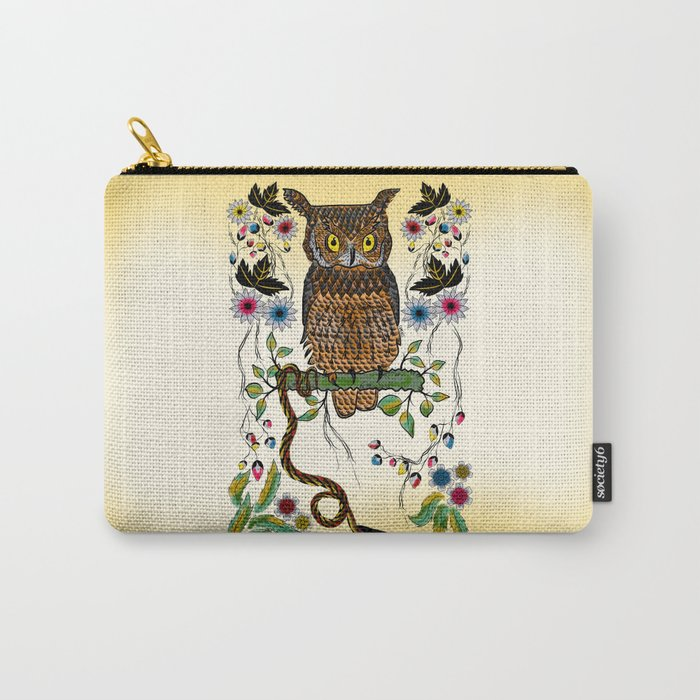 Vibrant Jungle Owl and Snake Carry-All Pouch