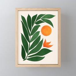 Tropical Forest Sunset / Mid Century Abstract Shapes Framed Mini Art Print