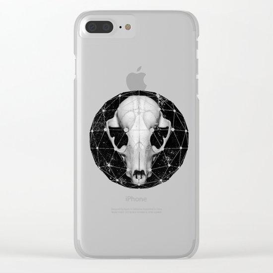 geometric raccoon skull Clear iPhone Case