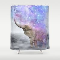 nirvana Shower Curtains featuring Don't Be Afraid To Dream Big • (Elephant-Size Dreams) by soaring anchor designs