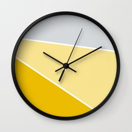 Diagonal Color Block in Yellows and Gray Wall Clock