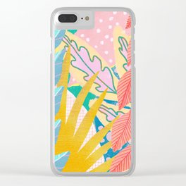 Modern Jungle Plants - Bright Pastels Clear iPhone Case