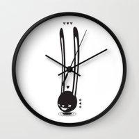 anaconda Wall Clocks featuring I CAN HEAR YOU ! - LONG EAR BUNNY  by PAUL PiERROt