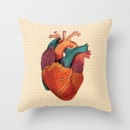 Anatomical Human Heart - Textbook Color Throw Pillow