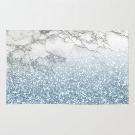 She Sparkles - Turquoise Teal Glitter Marble Rug