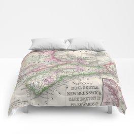 Vintage Nova Scotia and New Brunswick Map (1866) Comforters