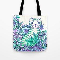 Garden Cat doodle in purple, blue & green Tote Bag