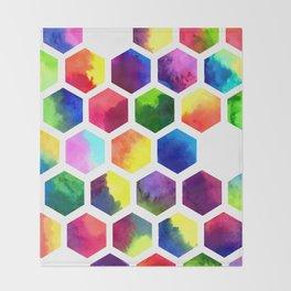 Rainbow Hexagons Throw Blanket
