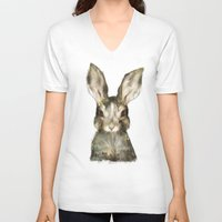woodland V-neck T-shirts featuring Little Rabbit by Amy Hamilton