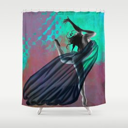 Flying Woman with veil  Shower Curtain