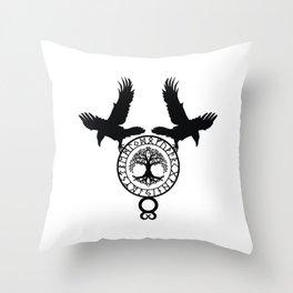 Norse Ravens - Yggdrasil Throw Pillow