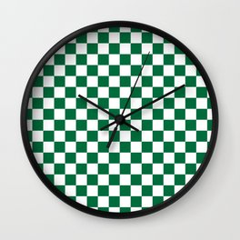 White and Cadmium Green Checkerboard Wall Clock