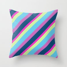 Summer fun Blue pink lime Colorful lines Throw Pillow