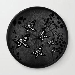 Skullerflies in the garden - dark scale Wall Clock