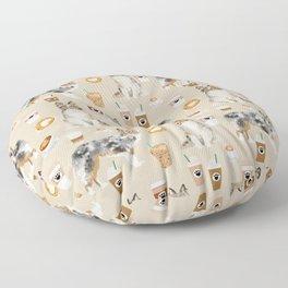 Shetland Sheepdog blue merle sheltie dog breed coffee pattern dogs portrait sheepdogs art Floor Pillow