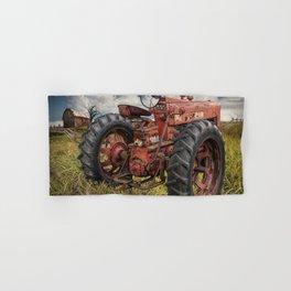 Abandoned Old Farmall Tractor in a Grassy Field on a Farm Hand & Bath Towel