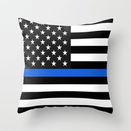 Thin Blue Line American Flag Throw Pillow