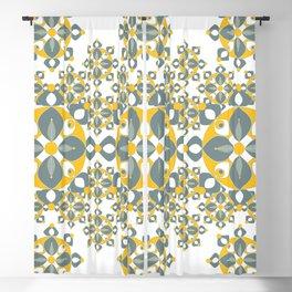 Gold, Grey and White Kaleidoscope Textile Blackout Curtain