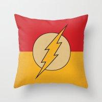 dc comics Throw Pillows featuring Flash Logo Minimalist Art Print DC Comics by The Retro Inc