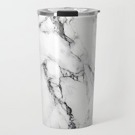 White Faux Marble Texture Travel Mug