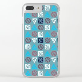 Modern abstract hand painted blue white geometrical pattern Clear iPhone Case
