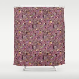 Wine and Cheese Pattern Print Shower Curtain
