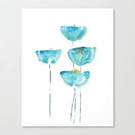 blue poppy watercolor Canvas Print