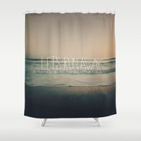 leah flores Shower Curtains featuring Let's Run Away by Laura Ruth and Leah Flores by Leah Flores