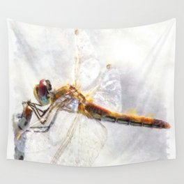 Platinum White Dragonfly Watercolor Wall Tapestry