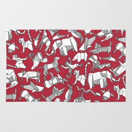 origami animal ditsy red Rug