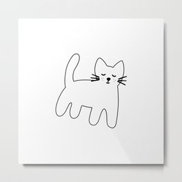 Black and white hand drawn cat Metal Print