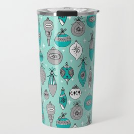 Ornaments christmas vintage classic turquoise and white hand drawn christmas tree ornament pattern Travel Mug