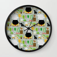 lab Wall Clocks featuring Witch's lab by Ana Linea
