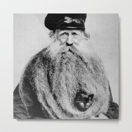 Kitten in the Beard of Old Man black and white photograph Metal Print
