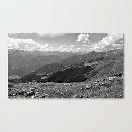 panorama on adventure park hög alps serfaus fiss ladis tyrol austria europe black white Canvas Print